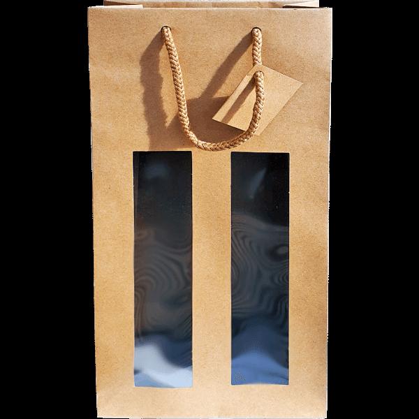 Kordeltasche braun Sichtfenster (38x18x8,8 cm)