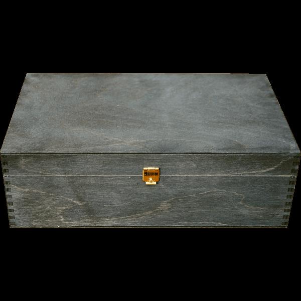 Geschenkkassette Holz schwarz gebeizt (25,5x15x8 cm)