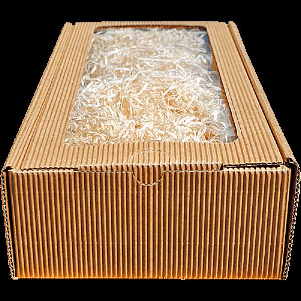 Geschenkkarton braun Sichtfenster (26x16x8 cm)